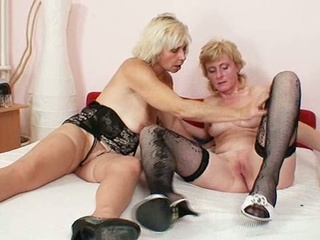 Nasty Festival Lesbian Grannies In Stockings Playing Together
