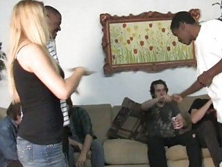 blonde teen getting shared by hung blacks
