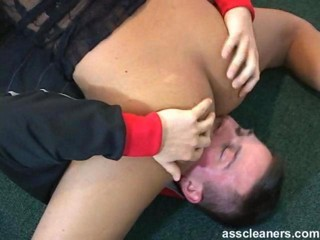 Acrobatic lady lets a man lick...