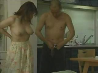 Cute Japanese babe round nice tits blows and gets nailed by lady's man round gun