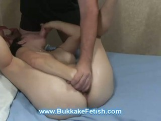 Horny brunette bitch is taught...