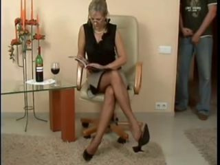 Footboy and titillating Matures Nylonsoles