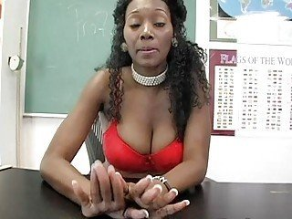 Busty ebony teacher masturbates in front of the class