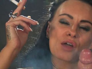vulgar dark haired bombshell smoking X-rated
