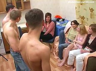 Russian Amateur Student Gangbang Party. 4 Girls, 3 Guys