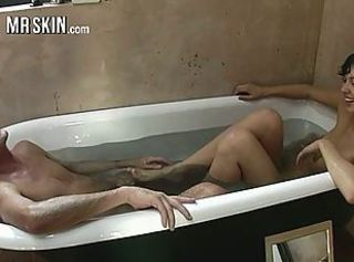 Celebs dike out to get fucked and foot fucked in the tub