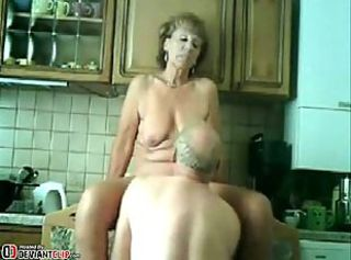Old slut vs. Old pervert in the kitchen