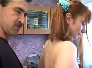 Amateur Daddy Daughter Homemade Kitchen Redhead Teen
