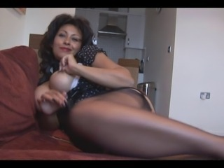 Big tits mature talks dirty as she strips