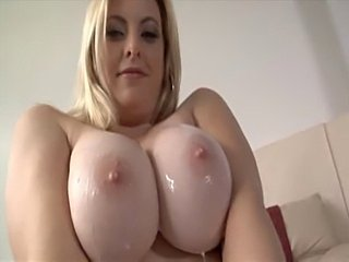 Big Tits Blonde MILF Natural Oiled Pornstar