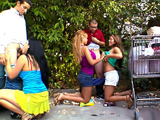 Fuck team five latinas orgy in the parking lot