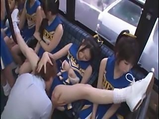 Horny Japanese cheerleaders in a hot group coitus fuck for all