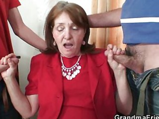 Bossy old bitch fucked by two employers Bossy old bitch fucked by two workers - Mature sex video -