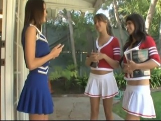 Cheerleader Cute Lesbian Skirt Threesome