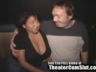 Big Titty Latina MILF Gets Gang Banged In A Public Porn Theater