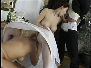Blowjob Bride MILF Natural Stockings Threesome