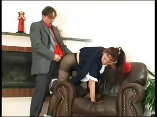heavy older  maid lillian puts her pantyhose on