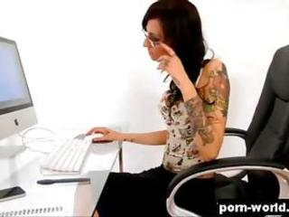 Tattooed secretary Havana Goof up gagging more than a huge horseshit elbow the post