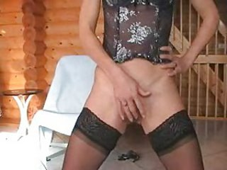 Corset Dildo Masturbating Mature MILF Stockings