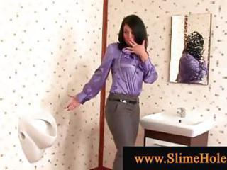 Grunge showered brunette sucking gloryhole bushwa gets wet with the addition of libellous
