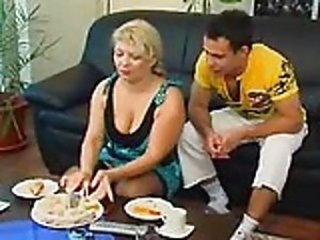 Russian auntie and boy - Mature sex video -