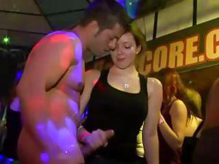 Watch cfnm interracial bitch obtain fucked by male stripper not later than party