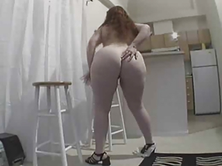 Fat girl with redhead pussy in kitchen