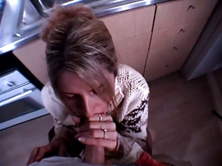 milf gets facial in the larder