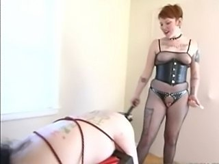 Fishnet Domme Mistress Strapon her Sub
