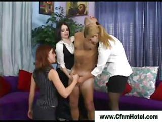 Simmering cfnm babes concerning handjob with reference to femdom cfnm guy until he cums
