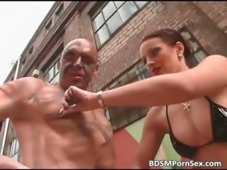 Outdoor BDSM whit cock jerking action part3