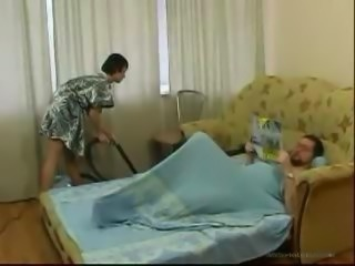 Brunette Teen Daughter Cleaning Bed Room Makes Old man Horny