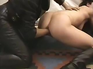 Brunettes are using a very large dildo on till the end of time other's pussy