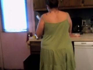 Mom Upskirt preparing dinner (sexy still wet behind the ears dress and panties)