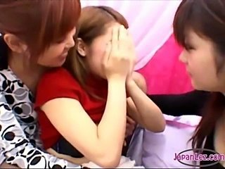 2 Asian Girls Kissing Rubbing Tits Patting While Bodies Licked By 3Rd Girl On...