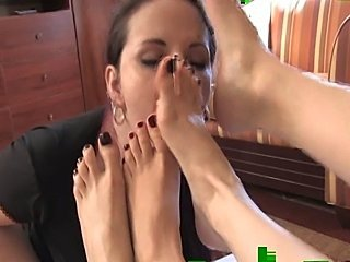 Lesbian foot worship   Mistress Arella and Mistress Heelena
