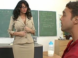 Big Tits Brunette Glasses MILF Pornstar Teacher