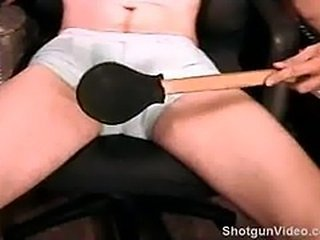 Self abuse. Hot young dude bashes his own balls...