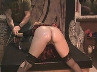 Stale school girl Antonia gets caned