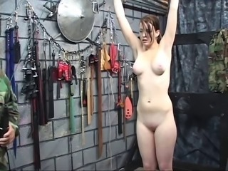 Hot brunette nigh plump succulent tits gets her nipples twisted hard by a horny old man