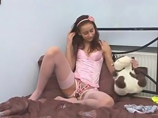 Innocente schoolgirl in crotchless panties stripping