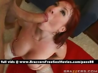 Mature naked redhead chick on the floor gets her tight pussy fucked hard