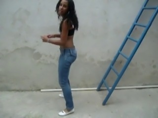 Amateur Dancing Ebony Outdoor Teen