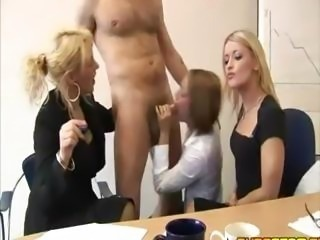 Business women share cock at the office