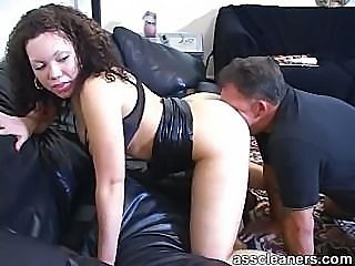 Horny mistress demands man to lick her ass thoroughly