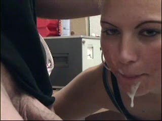27 old year girl giving great blowjob in lab then taste cum