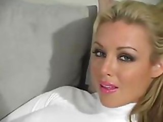 Stunning Blonde Kayden Kross Strips To Her Pantyhose and Masturbates