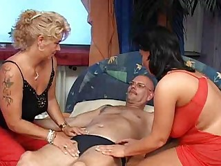 Big Tits Chubby Man Mature Tattoo Threesome