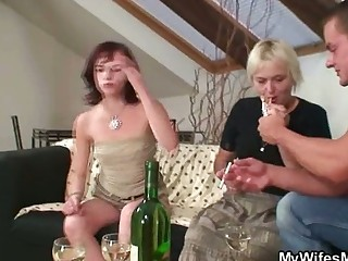 Home party with her horny mom - Mature sex video -