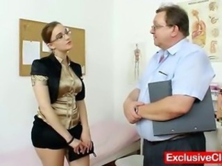 Fat bungler girl with glasses fingered by gyno MD